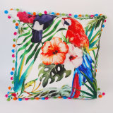 Hot Competitve Digital Printed 45X45cm Tropical Parrot Square Cushion