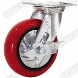 Heavy Duty Korea Iron Core PU Caster with Side Brake (G4211D)