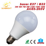 2018 New Product Dimmable LED Lamp A60 E27 B22 3W 5W 9W LED Light Bulb with Ce RoHS