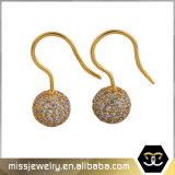 CZ Micro Pave Hip Hop 18K Gold Ball Drop Earrings Mjce008