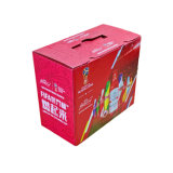 Custom High Definition Cmyk 4 Color Flexo Printing Corrugated Cardboard Paper Beer Red Wine fruit Juice Cola Outer Packaging Carton Box with Transparent Window