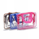 Summer Promotion 25s Heat Seal Clear Transparent PVC Cosmetic Bag Set Plastic Bag