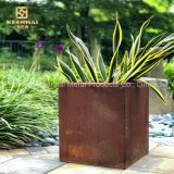 Cube Solid Corten Steel Flower Pot Planter for Graden (KH-CS-67)