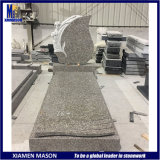 European Style Modern Design Absolute Black Granite Tombstone with Leaf Sculpture