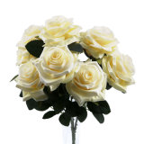 Wholesale Wedding Home Table Flower Decoration Artificial Silk Plastic Roses Flowers with Stems