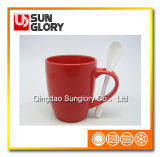 14oz Red Glazed Porcelain Mug with Spoon of Chb001
