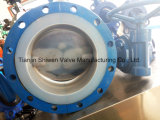 Full PTFE Coating Double Flanged Butterfly Valve with Gear