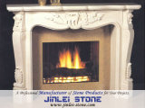 White Stone Sculpture Marble/Granite Stone Fireplace