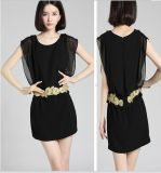 Patch Work Dress Design Fashion Women Chiffon Dress