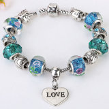 Fashion Plated Family Style Charms Glass Beads Bracelet and Bangle Jewelry