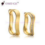 Unique Design Wave Gold Wedding Bands Custom Top Quality AAA CZ Couple Rings