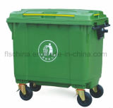 660L Plastic Dustbin with Four Wheels and Open Top Structure