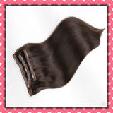 Chinese Remy Hair Clip-on Extensions Silky 18inch Brown Color