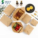 Waterproof Food Grade Brown Kraft Paper Biodegradable Disposable Bento Lunch Box