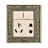 Brass Wall Power Switch Socket with Classic Patterns