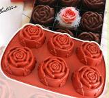 OEM Rem Red Rose Shape Silicone Cake Molds
