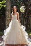 A-Line Wedding Dress Strapless Shinny Party Prom Dresses Sweetheart Lace Tulle Ball Gowns L6043