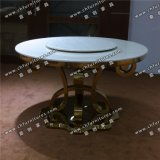 Marble or Tempered Glass Stainless Steel Chrome Silver Louis Dining Table Yc-St30