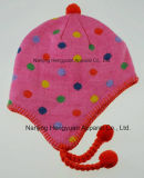 Jacquard Knitted Dots Earflap Hood Hat (HY171025056)