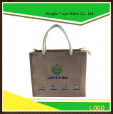 Customized Jute Tote Shopping Bag with Zipper Closed Paper Handle