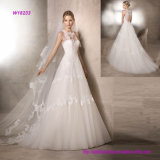 Princess Wedding Dress with Crew Neckline in Crystal Tulle and Guipure