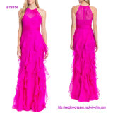 Organza Ruffle Skirt Halter Evening Gown