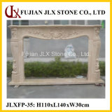 Classic Marble Stone Fireplace Mantel with Flower Carving