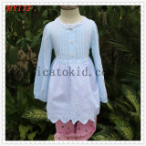 Lace Around Neck Children Girls Kids Blouse Skirt for Spring