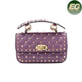 European Style Real Leather Handbags Studded Ladies Shoulder Bags with Metal Chain Emg4896