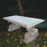 Natural Marble Bench with Dolphin Statue Standing for Garden Decoration