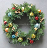 60cm Pre-Lit Decorated Wreath with Baubles