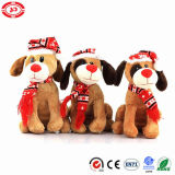 Plush Sitting Brown Dog Plastic Eyes Xmas Kids Soft Toy