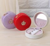 High Grade PU Leather Round Portable Travelling Jewelry Box with Beautiful Crown, Nice Jewelry Case for Rings and Earrings Collection
