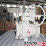 API 6D&API608 Cast Steel, Wcb, Carbon Steel, Stainless Steel CF8, CF8m, A105/F304/F316 2PC Flanged Trunnion Mounted Ball Valve with Gear Operation