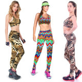 Hot Sale Women Fashion Nylon Printed Sport Yoga Bras Panty Sets