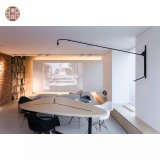 Modern White Cabinet Door Egg Shaped Coffee Table with Marble Soft Sofa for Hotel Apartment