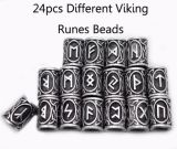 24PCS Hair Beard Viking Charms Antique Silver Beads Findings for Bracelets Pendant Neck Jewelry