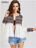 Embroidered Yoke and Cuff Coin Fashion Fringe Trim Blouse