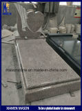 3D Heart Shape Line Engraving Red Granite Headstone for Churchyard
