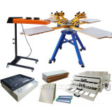 Cheap 4 Coloe 4 Station Carousel Screen Printing Machine with Some Kits