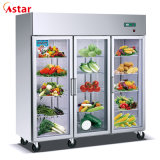 Wholesale Price Auto-Defrost 1600L Three Glass Doors Commercial Kitchen Refrigerator