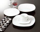 Elegant White 20PCS Coupe Square Ceramic Dinner Set