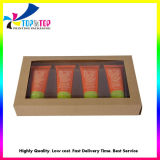 Cheap Recycled Brown Kraft Cosmetic Set Packaging Window Display Gift Box