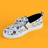 Kids Fashion Printing Bow Tie Canvas Loafers Shoes