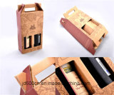 Simple Brown Corrugated Paper Wine Box Foldable with Handle