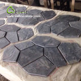 St-018 Black Slate Crazy Shape Meshed Paving Stone for Landscaping