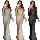 2019 Women Ladies Apricot Fringe Long Sleeve Party Maxi Sequin Evening Dress