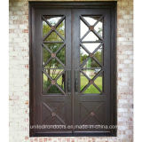 Contemporary Style Wrought Iron Double Door (UID-D079)