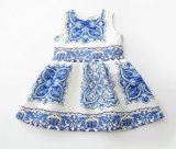 Fashion Girl Blude Flower Dress in Kids Clothes