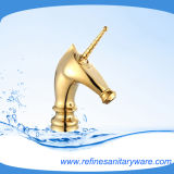 Horse Style New Look Basin Mixer with Golden Color (R2014M-G)